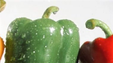 Tasty peppers in super slow motion being soaked — Stock Video