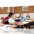 Videos of children in a classroom - Stockfoto