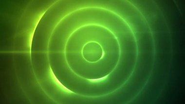 Rörliga cirkel av blinkande grönt ljus — Stockvideo