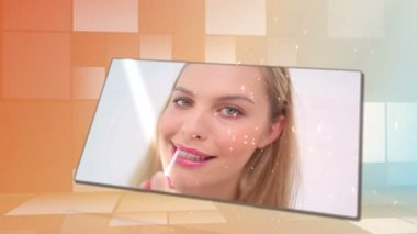 Beauty videos with an orange background — Stock Video