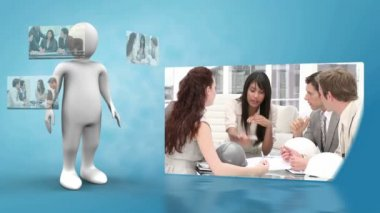 Robot presenting videos of business life — Stock Video