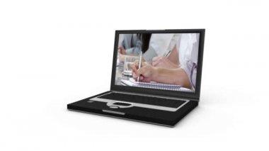 Laptop presenting an agreement between business — Stock Video
