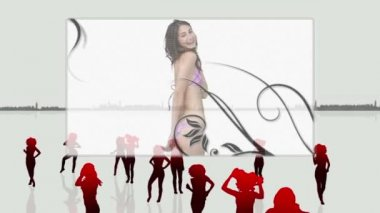 Elegant women dancing in bikini — Stock Video