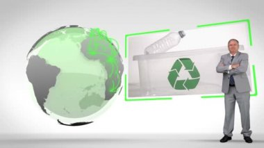 Recycled plastic bottles with an Earth image courtesy of Nasa.org — Stock Video