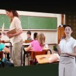 Woman showing videos of classroom — Stock Video #21800539