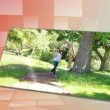 Womwalking in park and enjoying sun — Stock Video #21805275