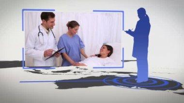 Siluetas y videos del hospital con una imagen de tierra cedida por nasa.org — Vídeo de stock
