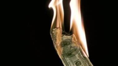 Fire in super slow motion burning a bank note — Stock Video