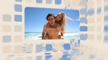 Happy couple spending a whole day on the beach — Stock Video