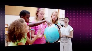 Videos of children looking a globe with an Earth image courtesy of Nasa.org — Stock Video #21806153