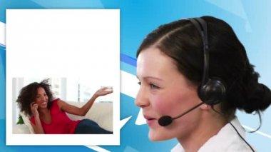 Women calling a help center — Stock Video