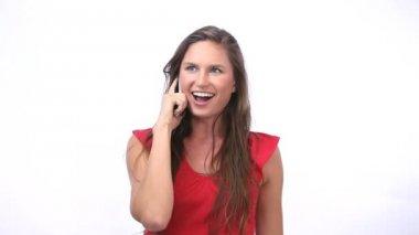 Happy woman calling — Stock Video