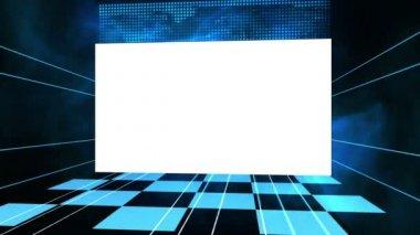 Vídeo de uma tela contra um fundo azul — Vídeo stock