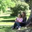 Mother and his daughter holding a pinwheel in a park — Stock Video