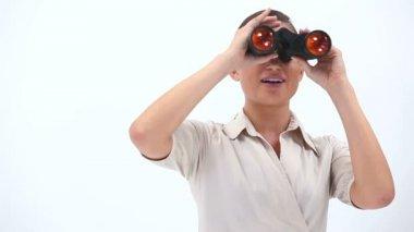 Elegant woman holding binoculars — Stock Video