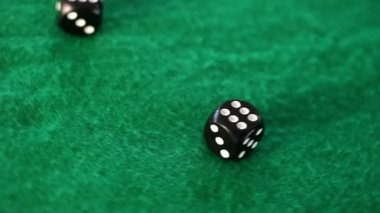 Dices thrown on a gambling table — Stock Video