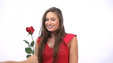 Joyful woman receiving a rose — Stock Video