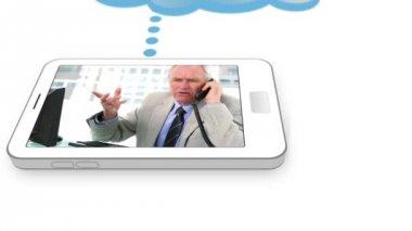 Video av företag som ringer på en smartphone — Stockvideo