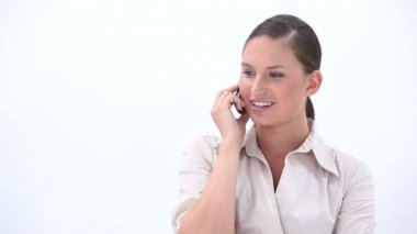 Happy business woman calling — Stock Video