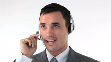 Businessman working in a call center — Stock Video