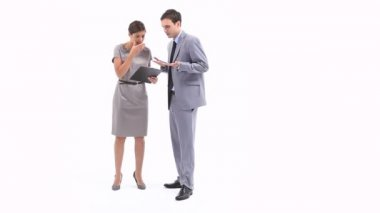 Irritated business woman holding a clipboard — Stock Video