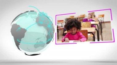 Videos of a classroom next to an Earth image courtesy of Nasa.org — Stock Video