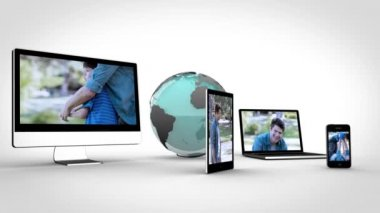 Video of family on multimedia with a blue Earth image courtesy of Nasa.org — Stock Video