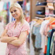 Woman standing in shop — Stock Photo