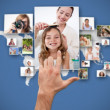 Hand selecting picture — Stockfoto