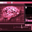 Stock Photo: Pink brain interface technology