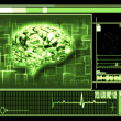 Stock Photo: Green brain interface technology