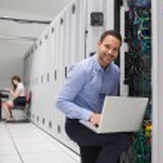 Two technicians doing data storage — Stock Photo