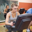 Working out at spinning class — Stock Photo