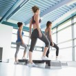 Four women at aerobics — Stock Photo
