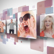 Four photos on digital wall — Stock Photo
