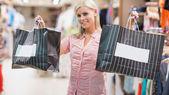 Dos bolsas de la explotación de la mujer — Foto de Stock