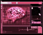 Pink brain interface technology — Stock Photo