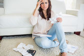 Woman worrying about finances — Stock Photo