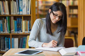 Femme étudie dans la bibliothèque — Photo