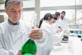 Chemist viewing liquid while other persons doing research — Stock Photo