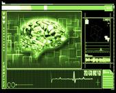 Green brain interface technology — Stock Photo
