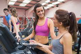Women smiling in gym — Stock Photo