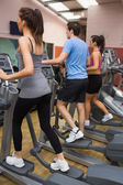 Three training on step machines — Stock Photo