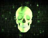 Green human skull — Stock Photo