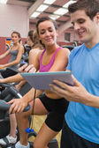 Chatting in gym — Stock Photo
