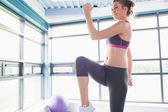 Happy woman doing aerobics — Photo