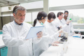 使用 tablet pc 的化学家 — 图库照片