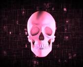 Pink human skull — Stock Photo
