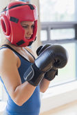 Boxing woman — Fotografia Stock