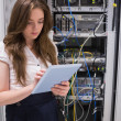Stock Photo: Womchecking servers using tablet pc